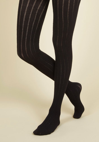 Candy Cottages Tights in Licorice - Black, Solid, Knitted, Boho, Urban, Darling, Festival, Fall, Winter, Knit, Party