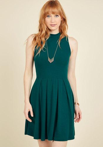 Seeking Regal Advice A-Line Dress in Forest - Green, Solid, Pleats, Casual, A-line, Sleeveless, Fall, Knit, Good, Short