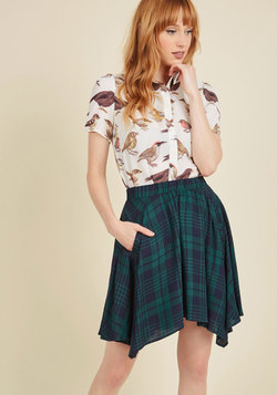 Get Your Foot in the Dorm Skirt in Navy Plaid