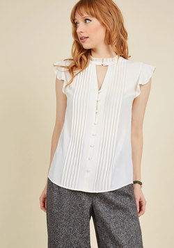 Zeal Studies Button-Up Top in White