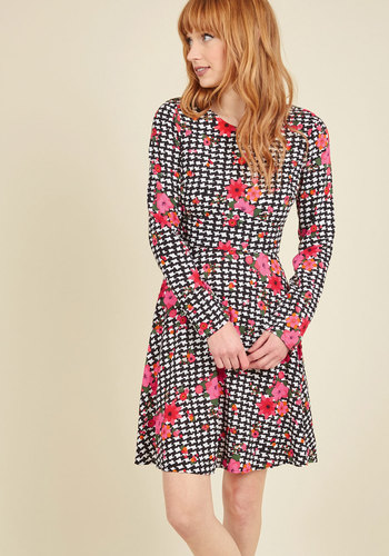Have Mix Up Your Sleeve Floral Dress - Multi, Black, Floral, Houndstooth, Print, Work, A-line, Long Sleeve, Fall, Woven, Better, Exclusives, Black, Mid-length, Mod, Quirky