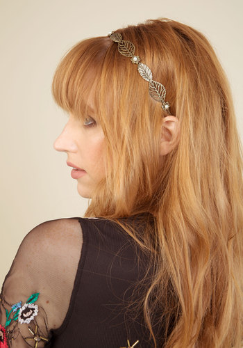 Forest In, Best Dressed Headband - Gold, Metal, Pearls, Party, Casual, 20s, Nature
