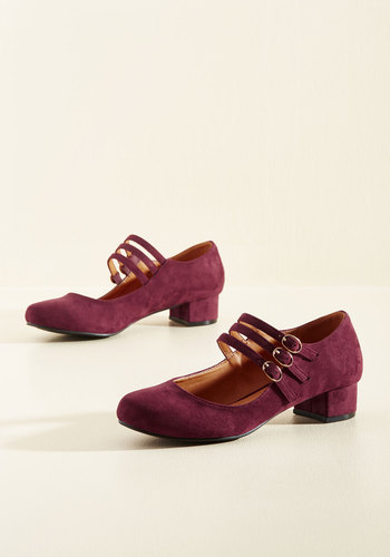 1920s Style Shoes All Tapped Out Heel in Burgundy $49.99 AT vintagedancer.com