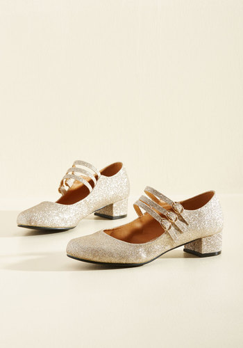 1920s Style Shoes All Tapped Out Heel in Gold $49.99 AT vintagedancer.com