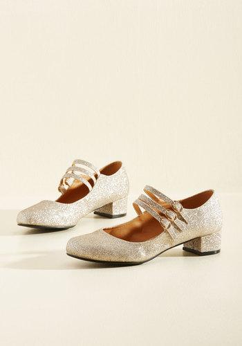 All Tapped Out Heel in Gold $49.99 AT vintagedancer.com