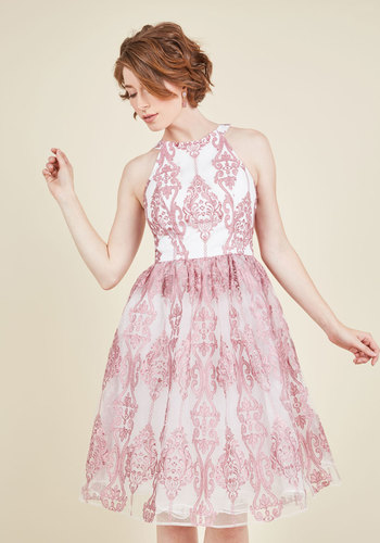 Princess of Posh A-Line Dress - White, Pink, Print, Embroidery, Party, Homecoming, Vintage Inspired, 50s, Fit & Flare, Sleeveless, Woven, Better, Long, Prom, Spring, Summer, Fall, Winter