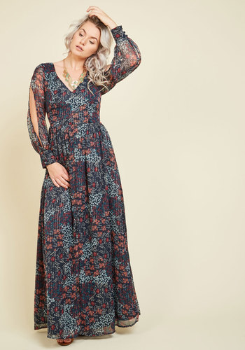 Loop, Twirl, and Arch Maxi Dress in Navy by ModCloth - Multi, Blue, Floral, Print, Daytime Party, Boho, A-line, Maxi, Long Sleeve, Fall, Woven, Exceptional, Exclusives, Private Label, Blue, Long, 70s, Nature, V Neck, ModCloth Label, Best Seller, Best Seller