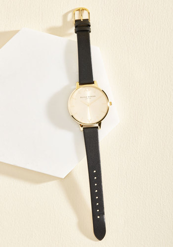 Undisputed Class Watch in Black & Gold - Big by Olivia Burton - Black, Solid, Minimal, Best, Leather, Work, Gold, Gals, Gifts2015, Store 2, Luxe