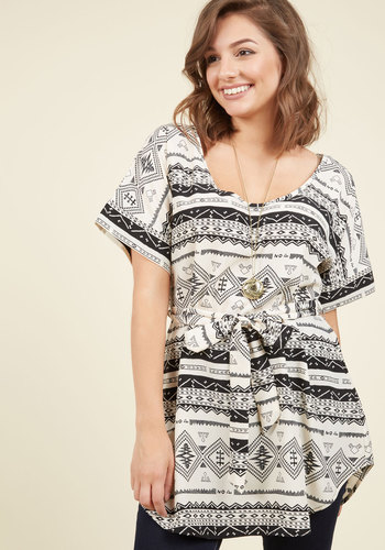 Medium Format Memory Tunic in Southwestern - Black, Print, Casual, A-line, Short Sleeves, Summer, Belted, Best Seller, Multi, White, Variation, Black, Short Sleeve, Maternity, Good, Long, 4th of July Sale, Gals, Work, Top Rated, Beach/Resort, White