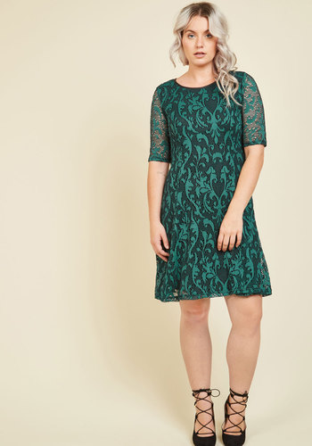 Urban Rooftop Garden Floral Dress - Green, Paisley, Print, Daytime Party, A-line, Short Sleeves, Fall, Woven, Better, Work, Homecoming, Party, Sheer
