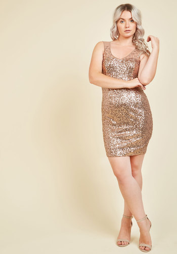 Here and Fearless Sequin Dress - Gold, Solid, Rhinestones, Special Occasion, Cocktail, Bodycon / Bandage, Sleeveless, Exceptional, V Neck, Woven, Sequins, Glitter, Prom, Holiday Party, Homecoming, Luxe, Statement, Girls Night Out
