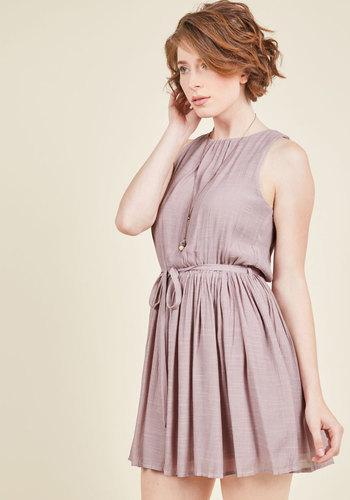 Inspiring Simplicity A-Line Dress - Blush, Solid, Work, Casual, Sundress, A-line, Sleeveless, Fall, Woven, Good, Short, Cutout, Belted, Mini