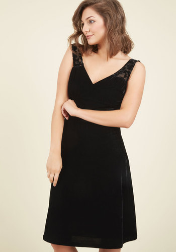 Pin-Up to the Challenge Velvet Dress in Onyx by ModCloth - Long, Mixed Media, Velvet, Black, Special Occasion, Holiday Party, Homecoming, A-line, Sleeveless, ModCloth Label, Best Seller, Best Seller