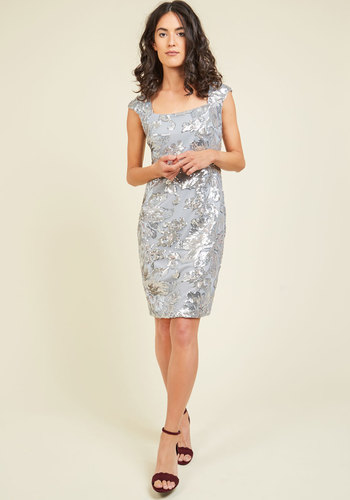 The One Who Glitz Me Sequin Dress - Silver, Solid, Sequins, Special Occasion, Wedding Guest, Bodycon / Bandage, Sleeveless, Woven, Best, Scoop, Holiday Party