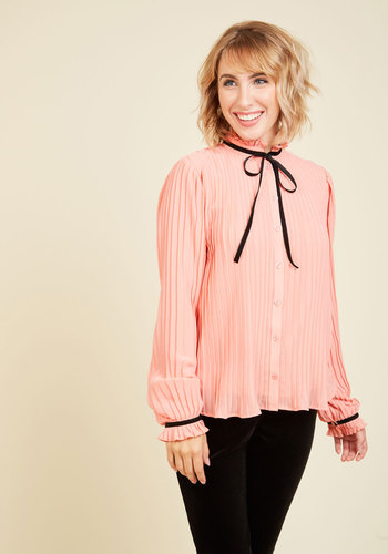 Remain Pleated Button-Up Top TSP0203