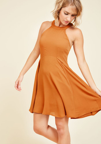 Brings Out the Bistro in You A-Line Dress - Yellow, Solid, Casual, Daytime Party, Sundress, A-line, Sleeveless, Summer, Fall, Woven, Good, Mid-length