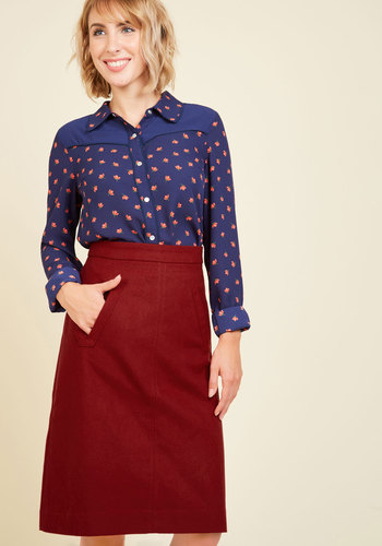 Aptitude for Anthropology A-Line Skirt in Wine by Pink Martini - A-line, Fall, Better, Red, Woven, Red, Solid, Work, Pockets, Variation, Mid-length, Vintage Inspired, 60s, 70s, Rustic, Scholastic/Collegiate, Exclusives, Saturated