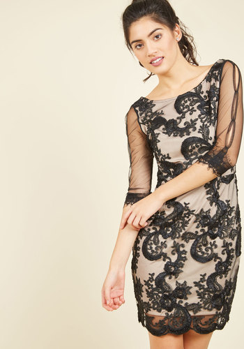 Live in the Wow Sheath Dress - Knit, Lace, Mid-length, Black, Solid, Lace, Party, Girls Night Out, Holiday Party, Bodycon / Bandage, 3/4 Sleeve, Fall, Winter, Better, Best Seller, Best Seller, Sheer