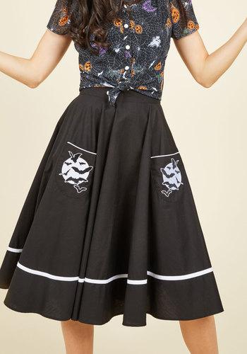 Vintage Retro Halloween Themed Clothing Fortune Favors the Cave Skirt $59.99 AT vintagedancer.com