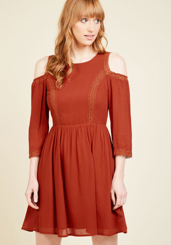 Shoulder the Responsibility A-Line Dress - Red, Solid, Casual, Boho, Festival, A-line, 3/4 Sleeve, Fall, Winter, Woven, Better, Cotton, Mid-length
