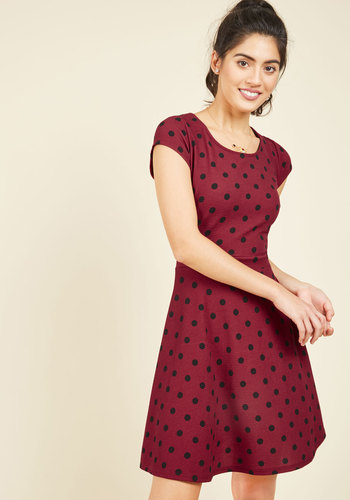 Swing Dance Seminar A-Line Dress - Knit, Mid-length, Red, Black, Polka Dots, Work, Valentine's, Pinup, Vintage Inspired, 40s, 50s, A-line, Fit & Flare, Scoop, Print, Casual, Rockabilly, Short Sleeves, Fall, Winter, Good, Saturated