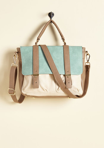 Agree to Master's Degree Bag in Aqua - Mint, Grey, White, Work, Casual, Colorblocking, Scholastic/Collegiate, Summer, Better, Pastel, Faux Leather, Exclusives