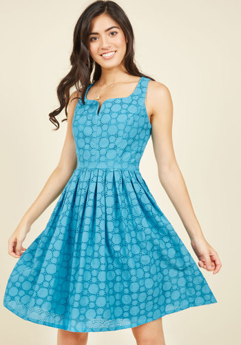 Don't Spin It All in One Place Dress in Blue
