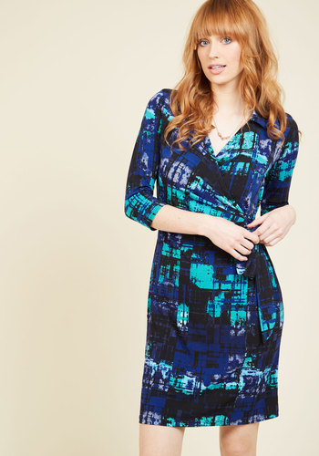 Incoming Essential A-Line Dress - Blue, Green, Print, Geometric, Work, A-line, Wrap, 3/4 Sleeve, Fall, Knit, Better, Mid-length