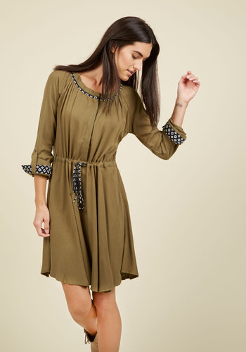 Avid Traveler Long Sleeve Dress - Green, Solid, Casual, A-line, Long Sleeve, Fall, Woven, Better, Mid-length
