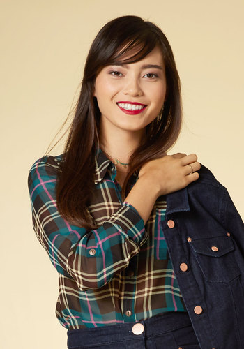 Preppy and You Know It Button-Up Top in Plaid
