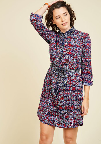 Sights and Soundtracks A-Line Dress - Multi, Blue, Print, Global, Work, A-line, Wrap, 3/4 Sleeve, Fall, Knit, Better, Exclusives, Blue, Mid-length, Tis the Season Sale