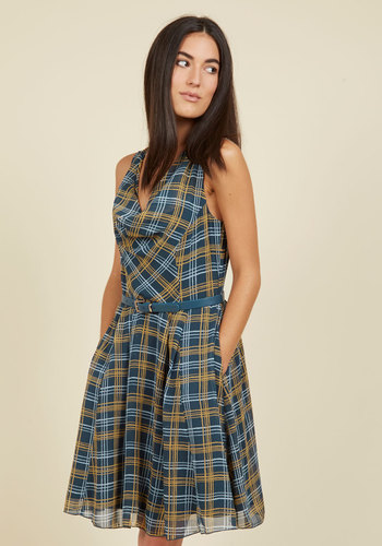 Computer Tutor A-Line Dress in Dusk Plaid