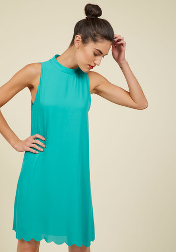 Swingy Whimsy Shift Dress - Green, Solid, Scallops, Casual, Shift, Sleeveless, Summer, Fall, Woven, Good, Mid-length