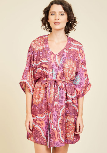 Thinking Out Lounge Robe by MINKPINK - Red, Print, Other Print, Lounge, Vintage Inspired, 60s, Best, Woven