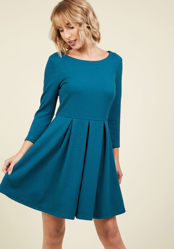Inspired Interpretation A-Line Dress in Lake - Green, Solid, Work, Casual, Fit & Flare, 3/4 Sleeve, Fall, Winter, Knit, Better, Exclusives, Private Label