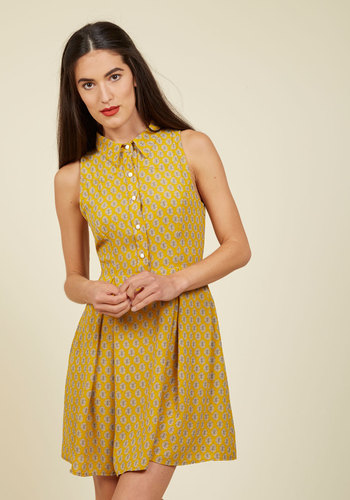 Atlanta Adventure A-Line Dress in Goldenrod Tile - Yellow, Tan / Cream, Print, Global, Work, Casual, Shirt Dress, Fit & Flare, Sleeveless, Fall, Woven, Better, Exclusives, Short, Pockets, Daytime Party, 70s, Scholastic/Collegiate, Collared, Mod