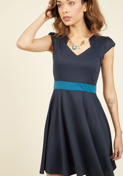 The Story of Citrus A-Line Dress in Navy