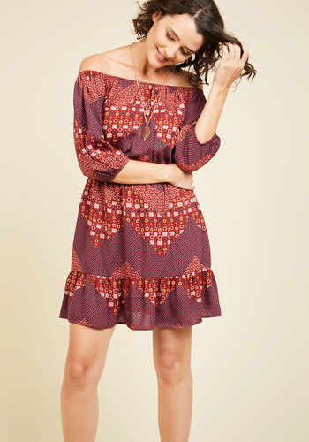 Best of the Midwest A-Line Dress - Red, Print, Other Print, Casual, Boho, A-line, 3/4 Sleeve, Fall, Woven, Better, Short, Mini