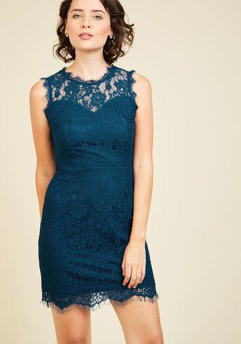 Following Ardor Lace Dress - Blue, Solid, Party, Cocktail, Girls Night Out, Bodycon / Bandage, Sleeveless, Spring, Summer, Fall, Winter, Lace, Better, Crew, Cotton, Knit, Mid-length, Best Seller, Best Seller, Lace, Saturated, Sheer