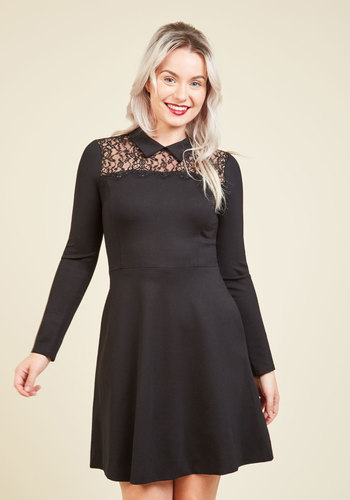 Urbane Planning Lace Dress by Wendy Bird - Knit, Mid-length, Black, Solid, Lace, Party, Work, Cocktail, Fit & Flare, Long Sleeve, Fall, Winter, Best, Collared, LBD, Lace, Holiday Party