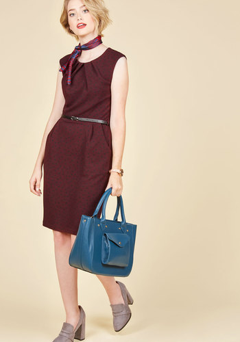 Teaching Classy Sheath Dress in Burgundy Dots - Polka Dots, Print, Work, Sheath, Sleeveless, Fall, Knit, Good, Exclusives, Red, Pleats, Pockets, Belted, Cocktail, Pinup, Mid-length