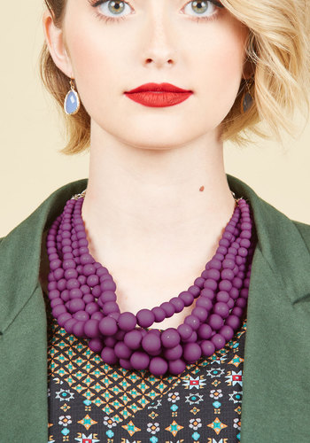 Burst Your Bauble Necklace in Grape - Red, Beads, Work, Statement, Gold, Better, Stocking Stuffers, Under 25 Gifts, Unique Gifts, Tis the Season Sale