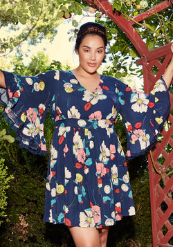 Through the Bluebells Floral Dress in Retro Blossom