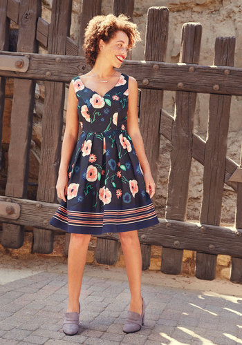 Lovin' the Dream Floral Dress by ModCloth - Multi, Black, Floral, Print, Daytime Party, Fit & Flare, Sleeveless, Fall, Woven, Exceptional, Exclusives, Private Label, Black, Long, Pleats, Pockets, Work, Wedding Guest, Homecoming, ModCloth Label