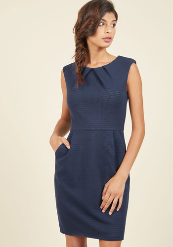Celebrated Chemist Sheath Dress - Blue, Tan / Cream, Stripes, Print, Work, Sheath, Sleeveless, Better, Mid-length, Knit