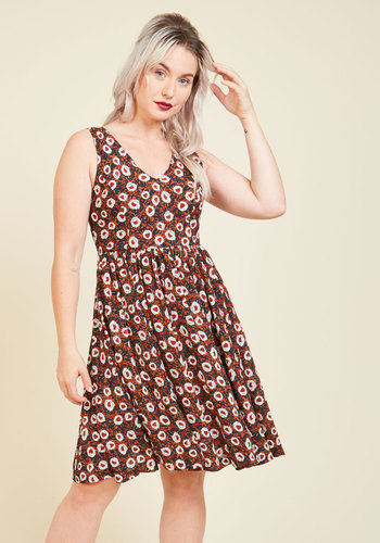 Boston Beginnings Floral Dress - Multi, Brown, Floral, Print, Casual, A-line, Sleeveless, Fall, Woven, Better, Long, Tis the Season Sale