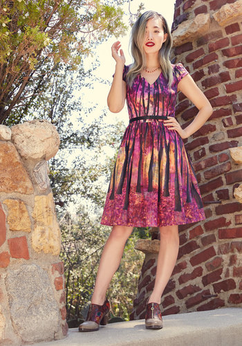 Frondescent Fete A-Line Dress in Thicket