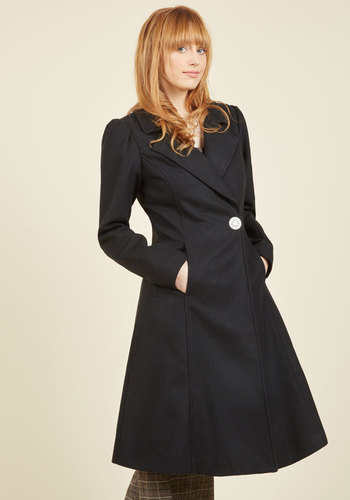 1950s Style Coats and Jackets Fall in Love Coat in Onyx $139.99 AT vintagedancer.com