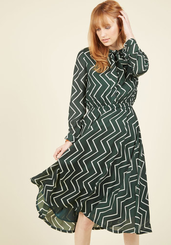 Heart in the Right Workplace Shirt Dress - Green, Print, Chevron, Work, Casual, Vintage Inspired, 40s, A-line, Shirt Dress, Long Sleeve, Fall, Winter, Woven, Better, Exclusives, Long