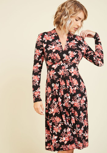 Undercover Comfort Floral Dress - Black, Red, Floral, Print, Work, Casual, A-line, Long Sleeve, Fall, Knit, Better, Long